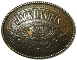 Jack Daniel's Rodeo Oval Officially Licensed Belt Buckle + display stand